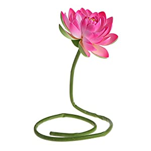 LIYUDL Artificial Flowers Fake Lotus Water Lily with Rod Plants Simulation Ornaments for Garden Home Pond Vase Decor (Pink)