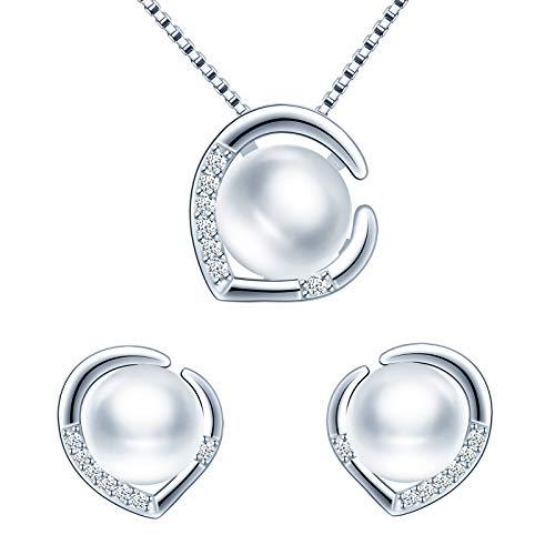 Yumilok - Conjunto de collar de perlas y pendientes, collar con colgante de corazón y pendientes de corazón, plata 925 para mujer niña, collar de perlas y pendientes, circonita con incrustacio