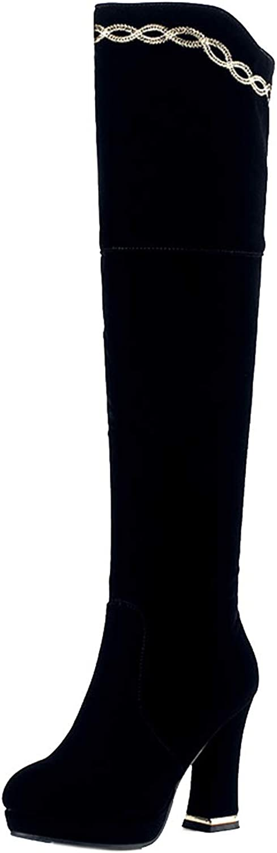Vitalo Womens Chunky Over The Knee High Heel Zip Up Platform Thigh High Boots