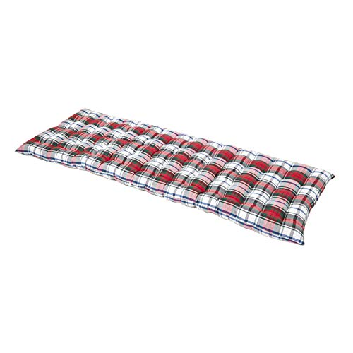 """HOMESCAPES Red Tartan Garden Bench Cushion 3 Seater Seat Pad for Patio Furniture Kitchen or Dining Bench Indoor & Outdoor Use Comfortable 100% Cotton """"Macduff"""" Style Thick Cushion 143 cm Wide"""