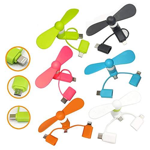 Swallowzy Mini ventilador 3 en 1 ventilador de teléfono portátil para iPhone/iPad, Android Micro USB, Tipo C conectores, 6 unidades