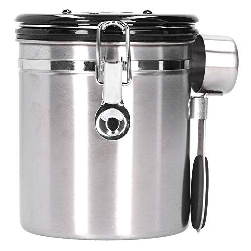 Sealing Container,1.5L Coffee Bean Sealing Container with Exhaust Valve for Dried Fruit Tea Leaf Storage(1.5L【约装500g】-带钢勺银色)