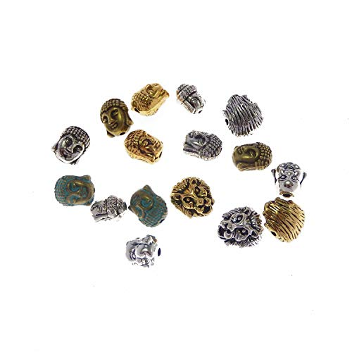 JJG 90pcs/Box Buddha Head & Lion Head Metal Spacer Beads Connector Charm for Bracelet Jewelry Making - Mixed Colors