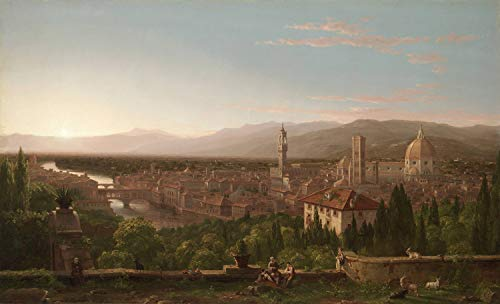"""WONDERFULITEMS View of Florence from SAN MINIATO Italy 1837 Painting by Thomas Cole 10"""" X 16"""" Image Size REPRO Canvas Rolled UP"""