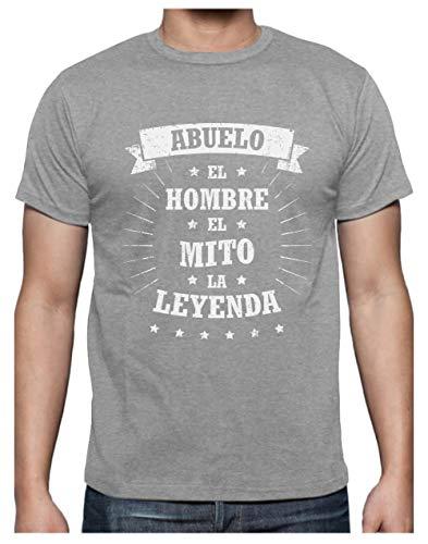 Green Turtle T-Shirts Camiseta para Hombre - Abuelo, El Hombre, El Mito, La Leyenda - Regalo Original para el Abuelo en el Día de los Abuelos, Cumpleaños X-Large Gris