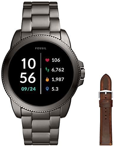 Fossil Connected Smartwatch Gen 5E para Hombre con tecnología Wear OS de Google, frecuencia cardíaca, GPS, NFC y notificaciones smartwatch, Acero Inoxidable + Correa de Reloj S221299