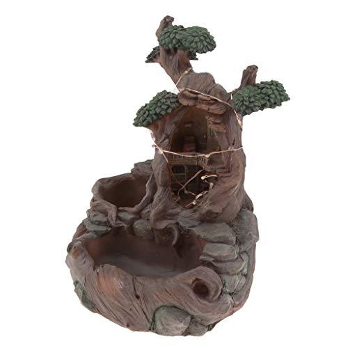 Homyl Creative Blumentopf Mini Fee Baumwurzel Blumengarten Pflanzentopf Deko mit Lampe für romatischem Atmosphäre