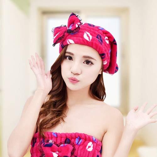 Schnelltrocknende Badezimmer-Bademantel Tragbare Mikrofaser-Damen Niedliches Badetuch Super Absorbent Strapless Bath Gown Bath Cap-Red Cap