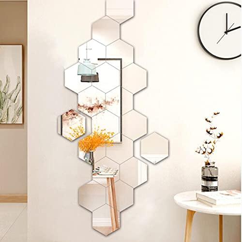CYendy Espejo Hexagonal, 24 Espejos hexagonales Decorativos, Adecuado para la decoración de la Pared de Fondo de TV Pared de plástico (Plateado, 126 x 110 x 63 cm)