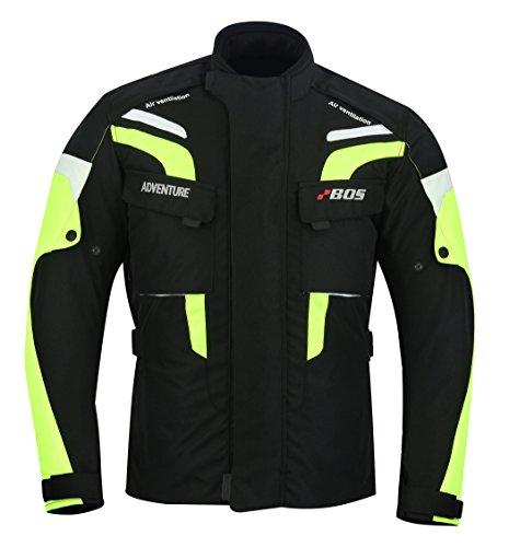 BOSmoto Motorradjacke Tourenjacke Motorrad Schwarz Neongelb, 5XL, Neon Gelb
