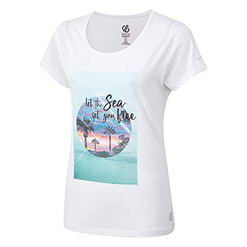 Dare 2b Women's DWT517 90014L Summer Nights' Breathable Short Sleeve Graphic Print T-Shirts/Polos/Vests, White, 14