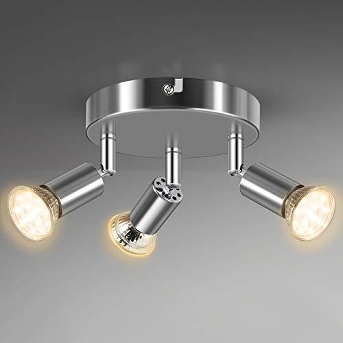 Unicozin 3 Flammig LED Deckenstrahler, LED Deckenleuchte inkl. 3 x 4W GU10 LED Leuchtmittel (400LM, Warmweiß), ø140mm, Weiß Chrom Deckenspot Schwenkbar, für Küche Wohnzimmer Schlafzimmer