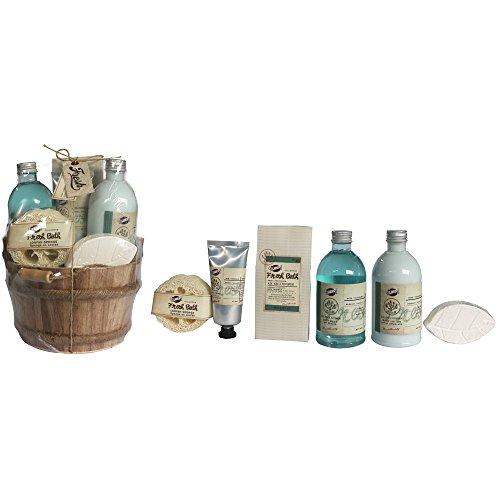 Gloss ! Make up & accessoires Fresh Bath Sceau de Bain en Bois Aloe Vera/Menthe Poivrée 6 Pièces, Coffret Cadeau-Coffret de bain