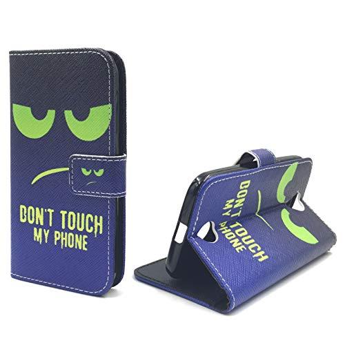 König Design Handyhülle Kompatibel mit Acer Liquid Z330 Handytasche Schutzhülle Tasche Flip Hülle mit Kreditkartenfächern - Don't Touch My Phone Grün Dunkelblau