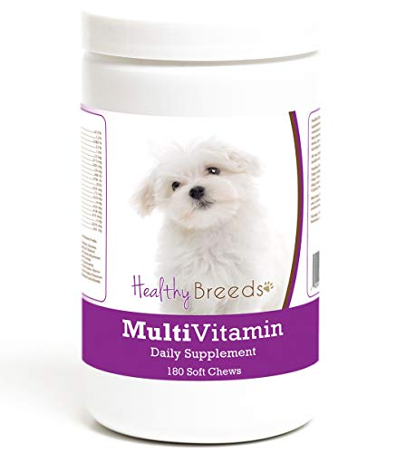 Healthy Breeds Multi Vitamin Daily Supplement Soft Chews for Maltese - Over 200 Breeds - Veterinarian Formulated & Recommended Dietary Support - 180 Chews