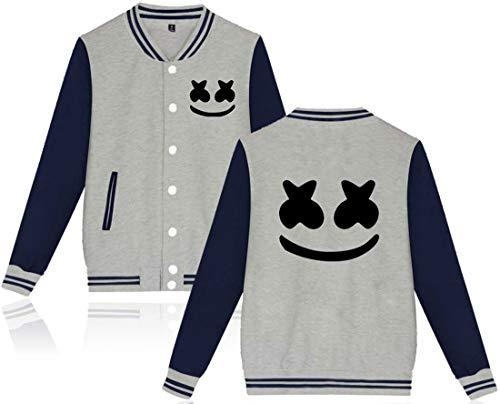 FLYCHEN Uniforme da Baseball per Ragazzi e Bambini con Logo DJ Pop Music Style Hip-Hop Giacca Sportivi per Ragazzi Outwear - Grigio - XXS