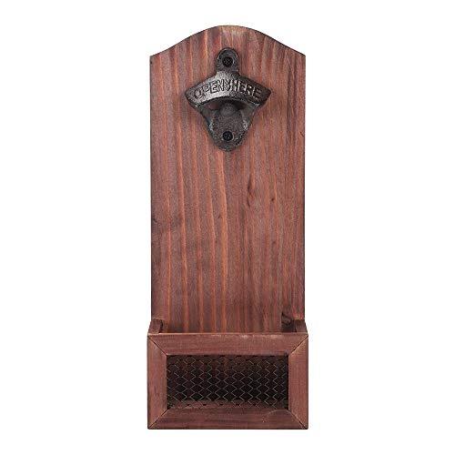 Verdelife Cavatappi da parete in legno, con coperchio, adatto per gli amanti della birra