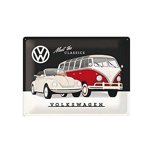 Nostalgic-Art Cartel de chapa retro VW – VW – Meet The Classics – Idea de regalo de furgoneta Volkswagen, metálico, Diseño vintage, 30 x 40 cm