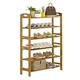 ZZYE Zapatero de 6 niveles, estante de almacenamiento vertical, bambú natural, 18 pares de zapatos, 70 x 26 x 108 cm (ancho x profundidad x altura) organizador de zapatos