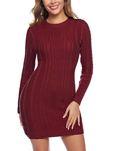 Akalnny Vestidos de Mujer Corto Ajustado de Punto Suéter de O-Cuello Vestido de Manga Larga Otoño Invierno Mini Vestidos Vino Rojo