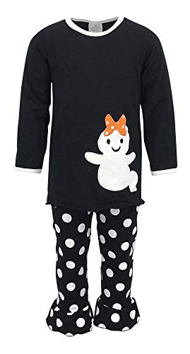 Unique Baby Girls 2 Piece Ghost Halloween Outfit (2T, Black)