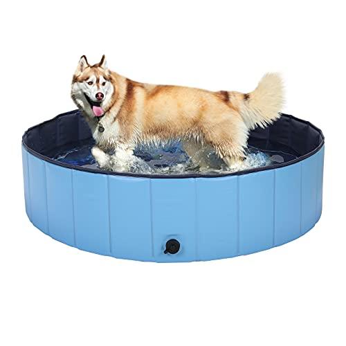 HAPPY HACHI Piscina para Perros Grandes Plegable 160x30 cm Bañera para Gato Mascotas Niños Resistente Duradero Refrescarse Nadando en Verano