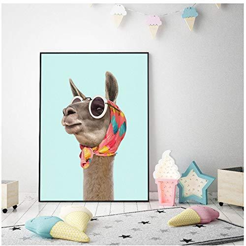 NIESHUIJING druk op canvas mode Lama Zebra staartmannetje kunstdruk canvas poster en moderne jurk tijger dier foto afbeelding 50x70cmx1pcs Kein Rahmen 3