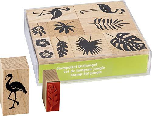 Heyda 204888684 Stempel-Set (Dschungel) Setgröße 12 x 10 x 3 cm, 10 Holz-Stempel