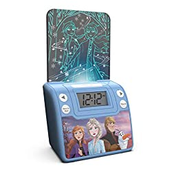 Frozen 2 Digital Alarm Clock with Night Light, Alarm Clocks for Kids Bedrooms, USB Charger, LED Light Show Animations, Battery Backup Nightlight, Snooze Wake to Buzzer