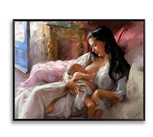 Wandkunst Bild DIY Malen Nach Zahlen Malen Auf Leinwand Pflege Mutter Liebe Baby Für Wohnkultur Kunstwerk Baby raumdekor Rahmenlos 40 * 50cmGG