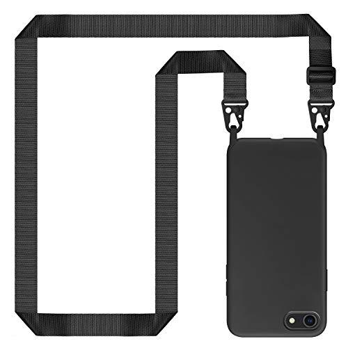 Genrics Handykette Hülle für iPhone 8/ iPhone 7/ iPhone SE 2020, Necklace Hülle Nylon Schultergurt Weich Silikon Handyhülle mit Kordel zum Umhängen Schutzhülle mit Stylische Band, Schwarz