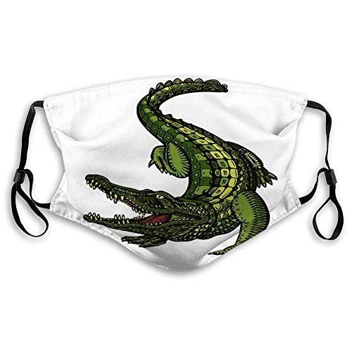 Reusable Face Shield Mouth Scraf Crocodile Or Alligator Animal In Ethnic Style