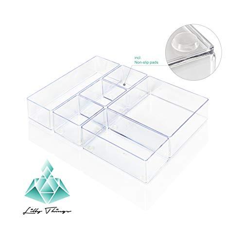 Lilly Things® ANTIRUTSCH Schubladen Ordnungssystem (6er Set, transparent) Schubladen Organizer Schubladeneinsatz Aufbewahrungsbox für Make-Up Kosmetik Schminktisch Schreibtisch Büro Bad Küche