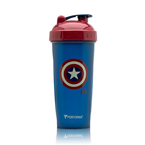 PERFORMA Marvel Shaker - Original Series, Leak Free Protein Shaker Bottle With Actionrod Mixing Technology For All Your Protein Needs! Shatter Resistant & Dishwasher Safe (Captain America IW)(28oz)