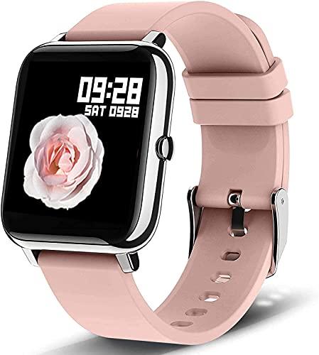 Smartwatch Orologio Fitness Tracker Uomo Donna, Bluetooth Smart Watch Cardiofrequenzimetro da Polso Schermo Colori Impermeabile IP68 Orologio Sportivo Calorie Activity Tracker per Android iOS (Pink)