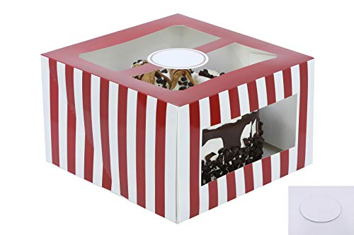 Confection Protection Cardboard Cake Boxes: 10 x 10 x 6 Inch Tall Cake Box Set with Cake Boards - Bakery Carrier Container with Window Panels for Wedding, Bake Sales - 10 Pack, Glossy Red Stripes