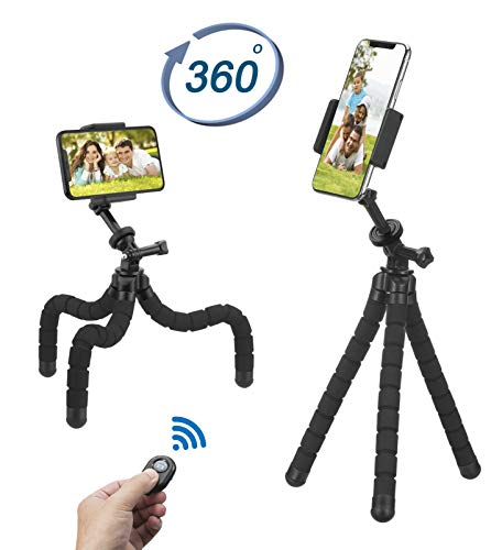 Phone Tripod, Flexible Tripod, Upgrade 4-Axis Angle Adjustment, Unique 360° Rotating Holder, Sturdy Octopus-Style Legs, and Wireless Remote Shutter for iPhone, Android Phone, DSLR Camera, and GoPro.
