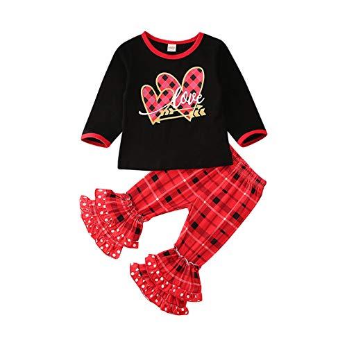 Pasgeboren baby Bell Bodem Broek, Peuter Baby Leuke Meisje Valentijnsdag Outfits Lange Mouw Hart Print Tops Ruche Broek Kleding Set