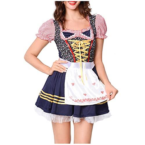 Vestito estivo da donna, abito estivo, da donna, costume per cosplay, abbigliamento da lavoro, vestito da donna, Colore: rosa., XL