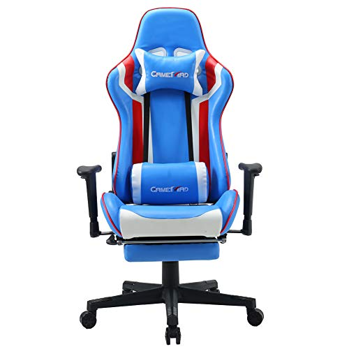 BERLMAN High Back PU Leather Swivel Gaming Chair with Adjustable Armrest Lumbar Support Headrest Footrest Racing Office Chair Massage Functional Lumber (White) chair footrest gaming