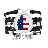 DIYthinker Michigan amérique ÉTats - Unis Carte étoiles tripes Drapeau Bracelet Amour Bijoux Cuir Bracelet