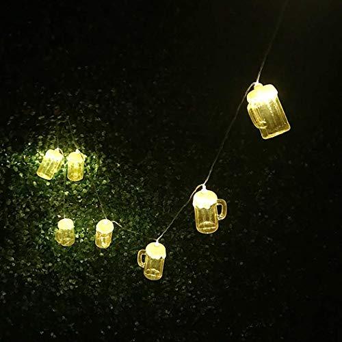 JUSTDOLIFE 4.92ft Christmas String Light Cute Beer Mug Decor String Lamp Fairy Light Starry Light Xmas Supplies