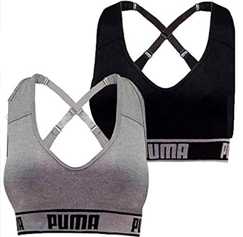 PUMA Women's Seamless Sports Bra Removable Cups - Adjustable Straps Moisture Wicking (2 Pack), Black/Grey, Large