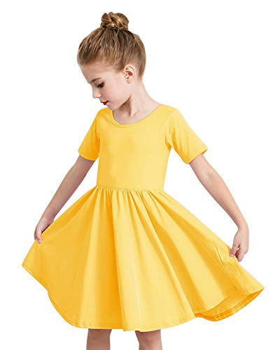 STELLE Toddler/Girls Short Sleeve Casual A-Line Dress for School Party (Yellow, Size 8)