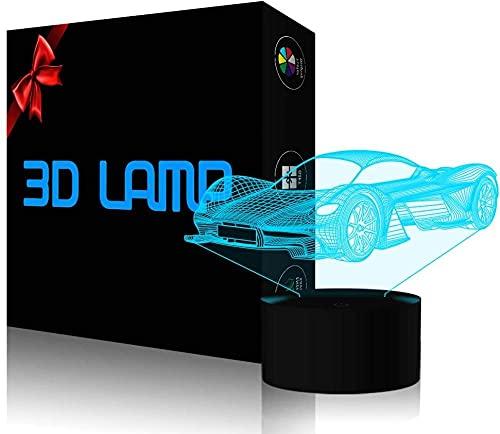 Luz de noche LED 3D, ilusión en 3D para coche, lámpara de mesa, 16 colores cambiantes de acrílico LED noche luz para niños niñas cumpleaños o regalo