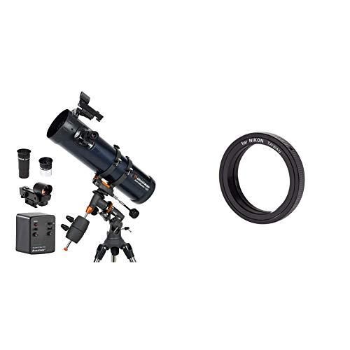 Celestron Astromaster 130EQ-MD, Telescopio, Massimo ingrandimento utile: 307 [Importato da Regno Unito] & Anello T2 per Nikon, Nero