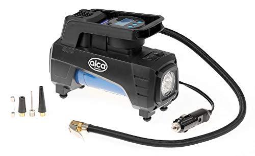 alca® Luftpumpe elektrisch 12V - digital LED Anzeige 10bar + einstellbare Abriegelung - mobiler Luft-Kompressor für Reifen, Bälle, Outdoor