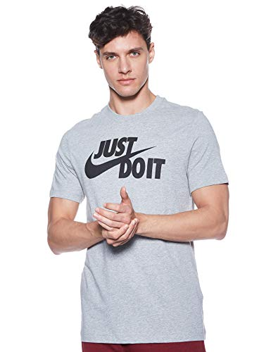 Nike Tee Just Do It Swoosh T-Shirt, Grigio (Dark Grey Heather/Black 063), Medium Uomo