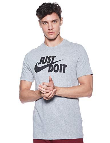 Nike Tee Just Do It Swoosh T-Shirt, Grigio (Dark Grey Heather/Black 063), Large Uomo
