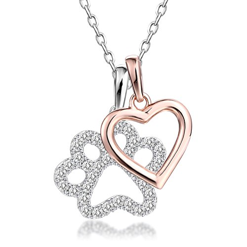GuqiGuli Sterling Silver Dog Paw Print with Rose Gold Heart Charm Pendant Necklace, 18''